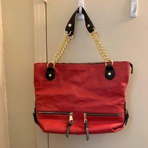 Steve Madden Red, Black & Gold Large Shoulder Bag